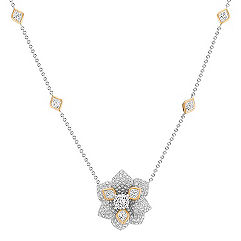 Calla Cut and Round Diamond Flower Necklace in Two-Tone Gold (16 in.)