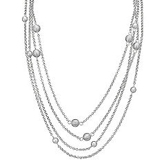 Sphere Accent Sterling Silver Necklace (47 in.)