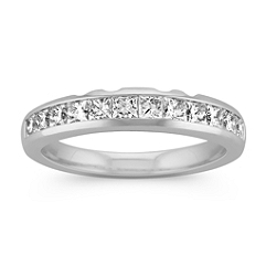 Twelve Stone Princess Cut Diamond Wedding Band with Channel Setting