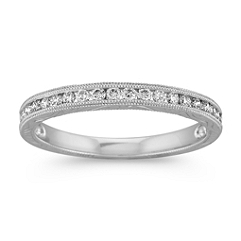 Vintage Engraved Round Diamond Wedding Band with Milgrain Details