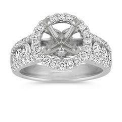 Halo Center Row Ascending Diamond Engagement Ring