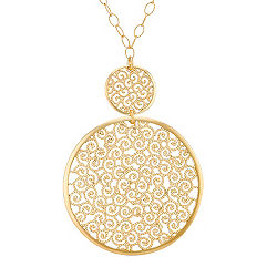 Double Circle Necklace in Yellow Sterling Silver (18 in.)