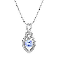 Round Ice Blue Sapphire and Diamond Pendant (18 in.)