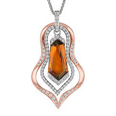 Shield Shaped Cognac Sapphire and Round Diamond Pendant in Rose and White Gold (18 in.)