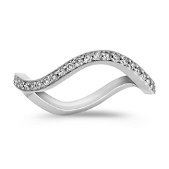 Stackable Wave Pavé-Set White Gold Diamond Ring