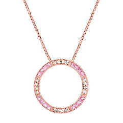 Princess Cut Pink Sapphire and Diamond Circle Necklace in 14k Rose Gold (18 in.)