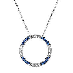 Princess Cut Sapphire and Round Diamond Circle Pendant (18 in.)