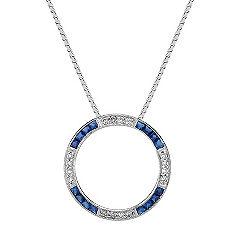 Princess Cut Sapphire and Round Diamond Circle Pendant (18 in.)