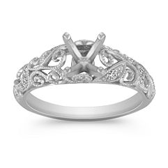 Vintage Diamond Engagement Ring with Pave Setting in White Gold