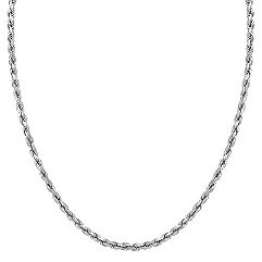 14k White Gold Rope Necklace (24 in.)