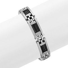 Stainless Steel and Cable Men's Bracelet (9 in.)