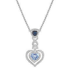 Heart Shaped Ice Blue Sapphire, Trillion Sapphire and Round Diamond Heart Pendant (18 in.)