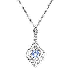 Heart Shaped Ice BlueSapphire and Round Diamond Drop Pendant (18)