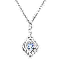 Heart Shaped Ice BlueSapphire and Round Diamond Drop Pendant (18 in.)