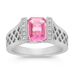 Emerald Cut Pink Sapphire and Diamond Criss-Cross Ring