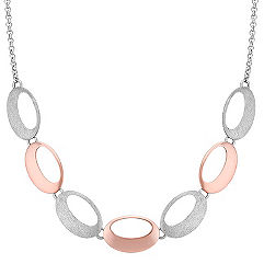 Two Tone Sterling Silver Oval Disc Necklace (18 in.)