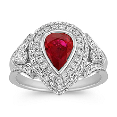 Pear Shaped Ruby and Diamond Halo Ring with Split Shank