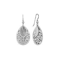 Cut Out Dangle Sterling Silver Earrings
