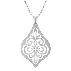 Vintage Cut Out Sterling Silver Pendant (18 in.)