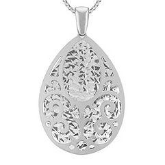 Cut Out Dangle Teardrop Pendant in Sterling Silver (18 in.)