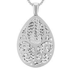 Cut Out Dangle Teardrop Pendant in Sterling Silver (18 in.)