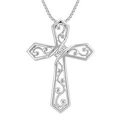 Princess Cut Diamond Cross Necklace in Sterling Silver (18 in.)