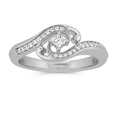 Princess Cut and Round Diamond Swirl Ring in Sterling Silver