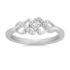 Princess Cut and Round Diamond Swirl Ring