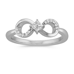 Princess Cut and Round Diamond Infinity Ring