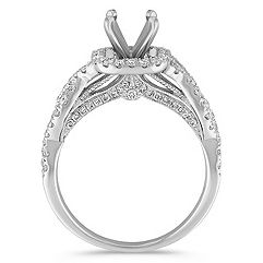 Infinity Halo Diamond Engagement Ring with Pavé Setting