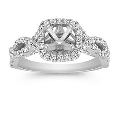 Infinity Halo Diamond Engagement Ring with Pave Setting