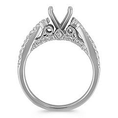 Infinity Cathedral Diamond Engagement Ring with Side Milgrain Detailing