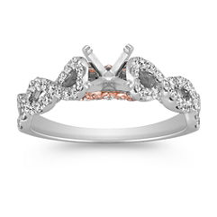 Infinity Cathedral Diamond Engagement Ring in White and Rose Gold