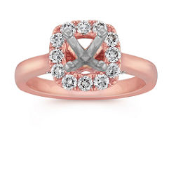 Halo Engagement Ring in Rose Gold with Pave Setting