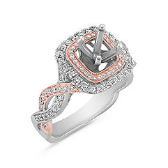 Infinity Double Halo Diamond Engagement Ring in White and Rose Gold