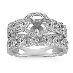 Intertwined Infinity Halo Wedding Set with Pave Setting