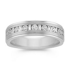 Baguette and Round Diamond Wedding Band in White Gold