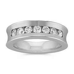 Concave Seven Stone Diamond Men's Ring with Channel Setting