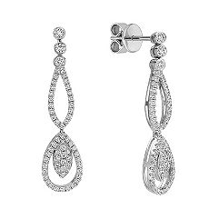 Round Diamond Double Teardrop Dangle Earrings