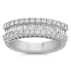 Three Row Round and Baguette Diamond Fashion Ring