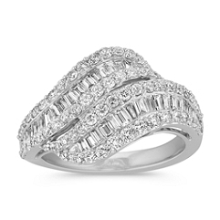 Meeting Swirl Round and Baguette Diamond Ring