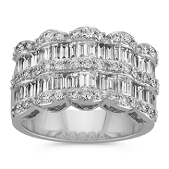 Draped Baguette and Round Diamond Ring