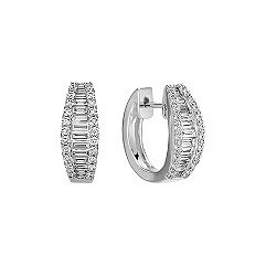 Baguette and Round Diamond Hoop Earrings