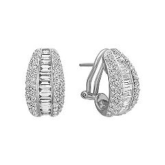 Baguette and Round Diamond Earrings with Pave and Channel Setting
