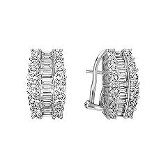 Triple Row Baguette and Round Diamond Earrings