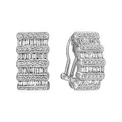Lined Baguette and Round Diamond Vintage Earrings