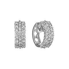 Three Row Diamond Hoop Earrings