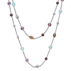 Sea Blue Agate, Amethyst, Smoky Quartz and Garnet Necklace in Sterling Silver (24 in.)