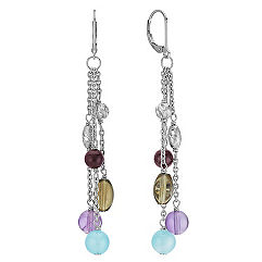 Sea Blue Agate, Amethyst, Smoky Quartz and Garnet Earrings in Sterling Silver