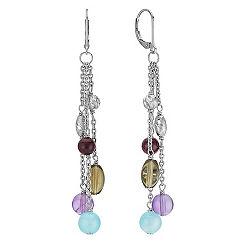 Sea Blue Agate, Amethyst, Smoky Quartz and Garnet Earrings in Sterling Silver
